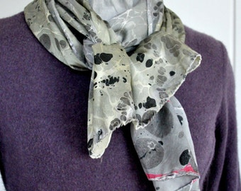 Black, White, and a hint of Yellow Scarf Made in Asheville, NC MM-#10-4816bwy