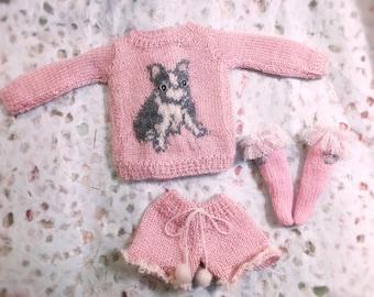Jiajiadoll - hand knitting- french bulldog sweater for Blythe or Momoko yosd azone fashion royalty pullip imda lati yellow