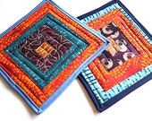 Modern Patchwork Quilted Pot Holders Set of Two in Colorful Abstract Patchwork