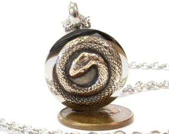 Bronze Snake Urn Necklace Cremation Urn Serpent Pendant Memorial Ash Keepsake  Key Chain Option 540