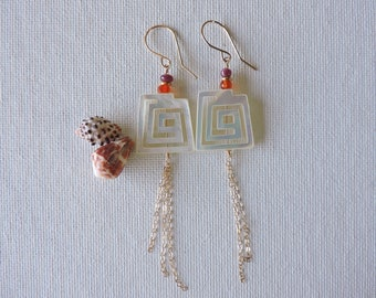 Mother of Pearl earrings - ruby, garnet, shell & chain tassel dangles - gold filled shell, gemstone earrings - beach inspired jewelry