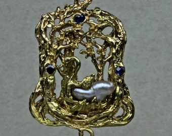 swan in the forest 14 kt yellow gold