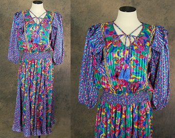vintage 80s Susan Freis Dress - 1980s Boho Gypsy Ruffled Floral Confetti Print Dress Sz M