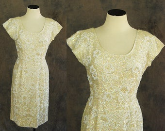 vintage 60s Beaded Dress -  Off White Hourglass Wiggle Dress - 1960s Bombshell Formal Gown Sz S