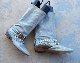 vintage 1980s Studded Boots - 80s Iridescent Suede Boots Metallic Leather Boots Pixie Slouch Boots Sz 9 40