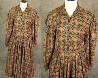 CLEARANCE SALE vintage 50s Dress - Persian Medallion Print Day Dress 1950s Shirt Dress Sz S