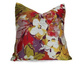 Modern Floral Pillow Cover, Red Chartruese Purple Pillow, Colorful Floral Pillow Case, Shimmering Floral Cushions, Spring Decor, 18, 20, NEW