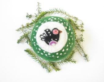 Bird ornament,Needle Felted ornament,Felt Christmas ornament,Ready to send