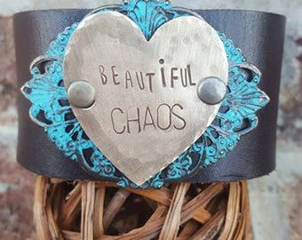 "Brown Leather Cuff  with the words ""Beautiful CHAOS"" on hammered Brass Heart Metal-Quote"