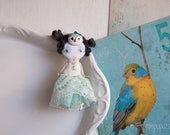 Little Mint Owl Girl and her Tiny House, Art Doll Brooch