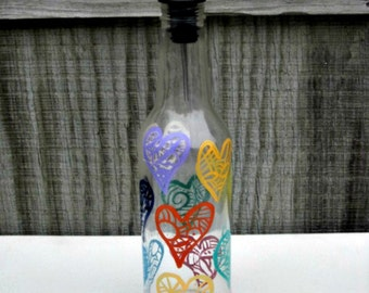 Oil and Vinegar Bottle, Dish Soap Dispenser,  Recycled Clear Beer Bottle, Painted Glass, Colorful Hearts