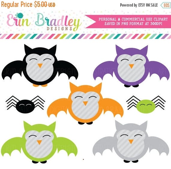 50% OFF SALE Halloween Clipart, Vampire Owls Clipart, Spider Clip Art, Spooky Clipart, Personal & Commercial Use