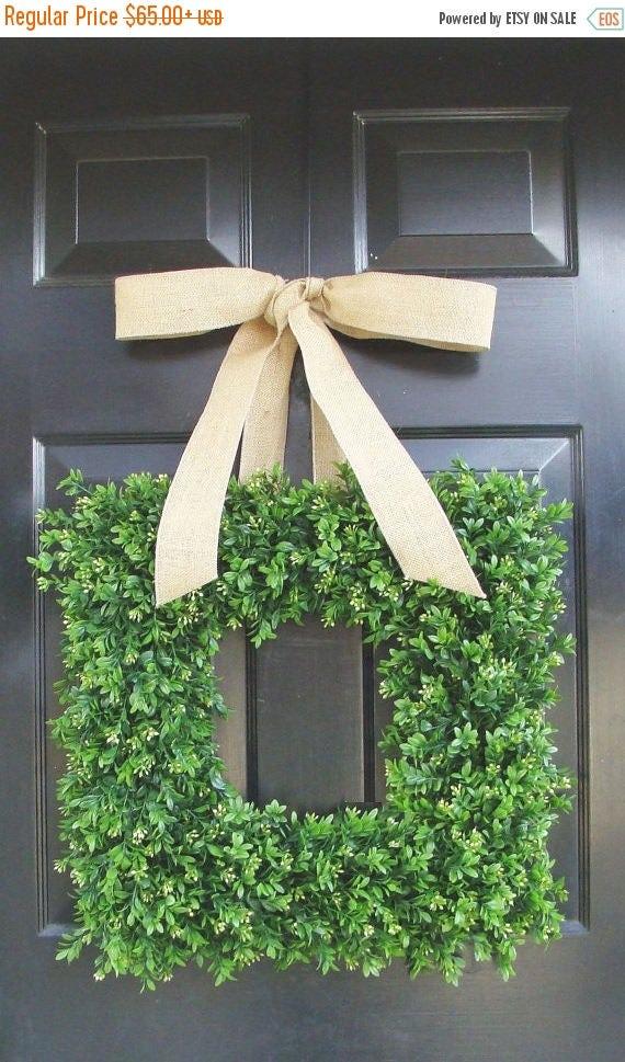 SPRING WREATH SALE Square Boxwood Wreath, Square Summer Wreath, Burlap Bow, Outdoor Spring Wreath, Housewarming Gift, Wedding Wreath 20 Inch