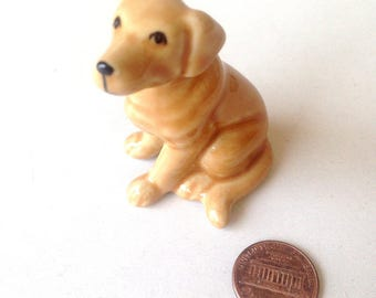 Dog figure, Brown, sitting dog, puppy, Ceramic Dog Figure, ceramic figure, animal figure, dog figurine, animal figurine, labrador, decor
