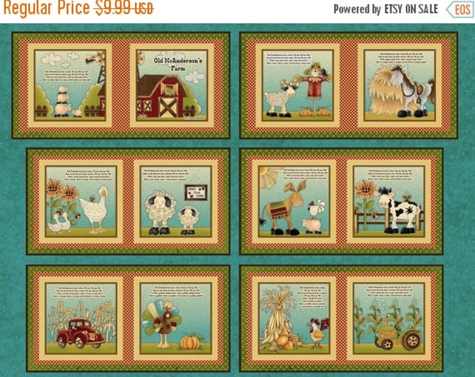 On Sale Children's Fabric Book Panel, McAnderson Farm by Leanne Anderson for Henry Glass
