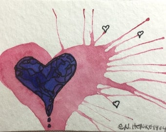 Three Tiny Hearts, a Watercolor ACEO by Nan Henke, also referred to as an ATC (Artist's Trading Card)