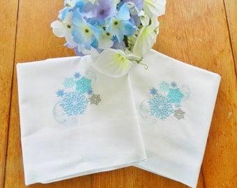 White Pillowcases, Snowflake Pillowcases, White Muslin Pillowcases, Blue Pillowcases, Nos Pillowcases, Never Used Pillowcases, Winter