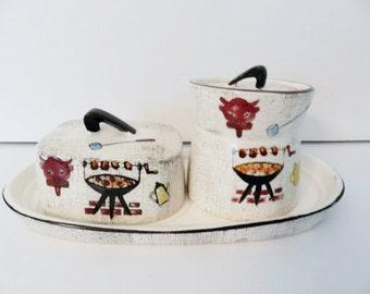 1950s Jam Set, BBQ Serving Set, Honey Jar, Butter Dish, Jam Jar, Sugar Bowl, Vintage Serving Set, Condiment Set