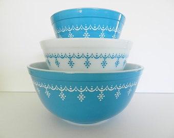 Pyrex Snowflake Bowl Set, Pyrex Bowls, Blue Pyrex Bowls, Mixing Bowls, Snowflake Bowl Set