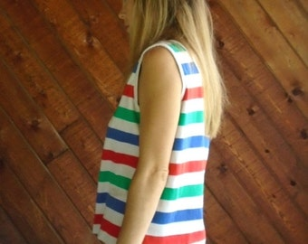 extra 30% off sale . . . Vintage 80s - Retro Stripe Summer Tank Top - MEDIUM M