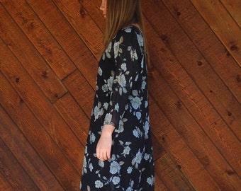 extra 30% off sale . . . Navy Floral Sheer Chiffon Mini Dress - Vintage 90s - MEDIUM