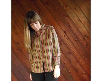 extra 30% off sale . . . Striped 70s Secretary Button Down Shirt - Vintage - M/L
