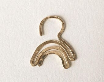 Playful Hammered Septum Jewelry Nose Ring Jewelry Gold Filled 18 Gage Gift Body Alternative Gesture Unisex Women Men