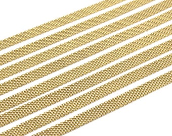 2 M -7x1mm Raw Brass Mesh Chain Z099
