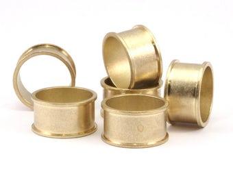 Brass Channel Ring - 6 Raw Brass Channel Ring Settings (19mm) N479