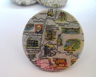 Vintage Travel Map Pin - Badge - Western Massachusetts: Amherst-Athol-Deerfield-Northampton-Holyoke-Ware