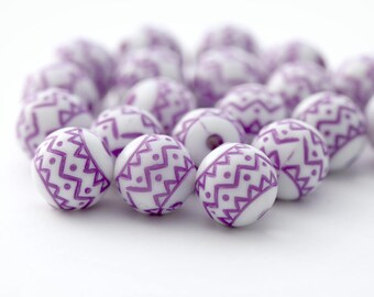 Etched Purple White Zig Zag Acrylic Round Beads 10mm (20)