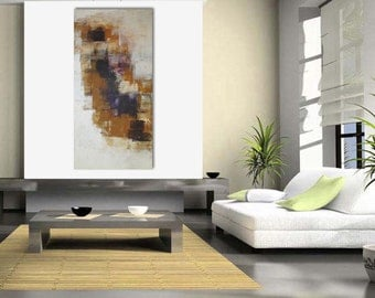 Original large abstract painting palette knife wall art deco by Elsisy 48x24 Free US shipping