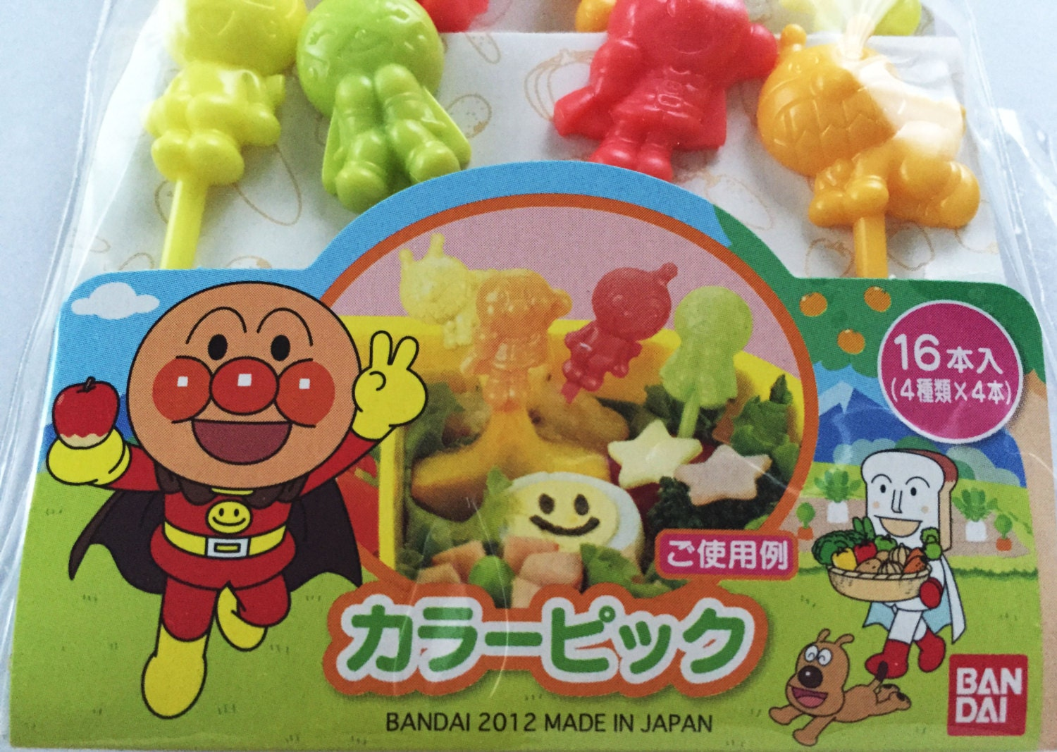 Cute anpanman dokinchan melonpanna japanese bento picks for Anpanman cake decoration