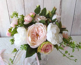Blush Pink Boho Wedding Bouquet, with matching Boutonniere, Ready to Ship!