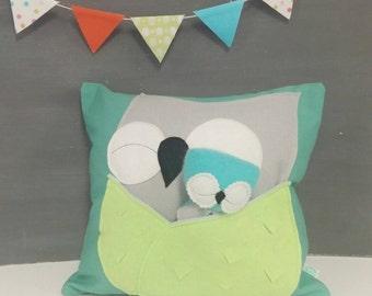 Playful Pillow with Owls - Children, Nursery, Toy, Pillow, Handmade
