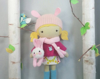 """Handcrafted STUDIO DOLL 15"""" - Girl in the Jacket with Bunny Scarf.  Handmade, Doll, Girl, Toy, Plush, Children, Gift"""