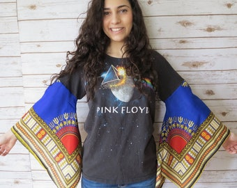Pink Floyd Dark Side Of The Moon Angel Bell Sleeve Sleeves Dashiki Off The Shoulder Upcycled Tshirt/Tee/Top/Shirt Womens Size Small Medium