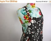 FLASH SALE Aloha Romper Vintage Hawaiian Print Cotton Overalls Gray, White Red Hibiscus Floral Jade Fashions Retro 1980s S M 29-33 Waist Sum