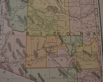 1893 State Map Arizona - Vintage Antique Map Great for Framing 100 Years Old