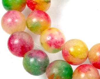 "8mm Watermelon Candy Marble Jade Round Beads 15""  (e7945)"