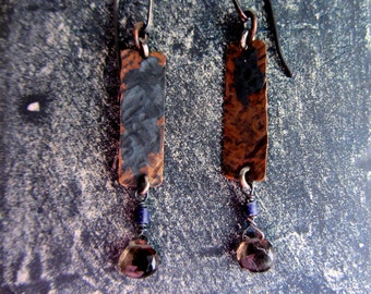Long dangle copper earrings, smoky quartz, lapis lazuli, sterling silver