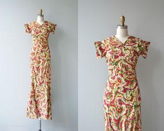 Crossette silk dress | vintage 1930s dress | long silk 30s dress