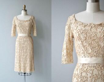 Brulee Soutache dress | vintage 1950s dress | cream lace 50s dress
