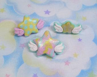 Kawaii stars with wings - Polymer clay Fairy Kei decora pastel hair clip