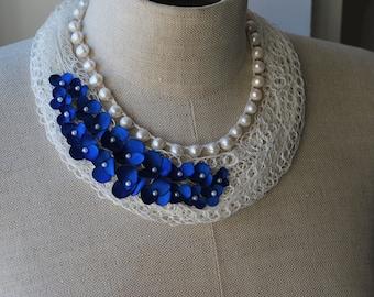 OOAK Linen Necklace.MARIE.  Linen Jewelry. Wearable Fibre art. Ready to ship.