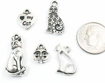 TierraCast Pewter Kitty Mix-Silver CAT CHARM SET (5 Pieces)