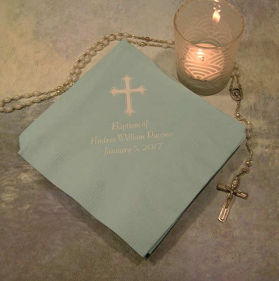 Baptism napkins personalized baptism napkins christening napkins first communion napkins Set of 50 napkins beverage and luncheon sizes
