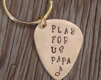 Hand stamped brass guitar pick key chain- great custom gift