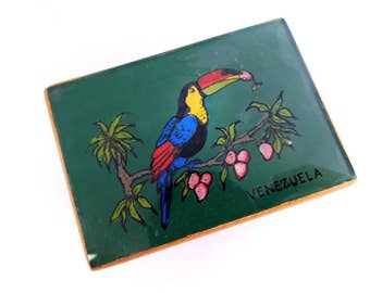 Vintage Glass and Wood Box, hand painted souvenir from Venezuela , Toucan bird in a fruit tree Green and Gold Small Keepsake Keeper Box