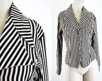 Camille Claudel Stripe Button Down Tie Back Woman's Vintage Stripe Blouse